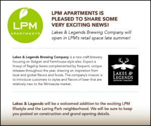 Announcement: Lakes & Legends Brewing Company will open in LPM's retail space in late summer
