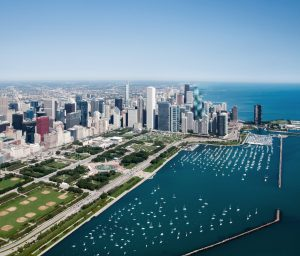 Chicago skyline featuring high-rise buildings managed by Magellan real estate development services